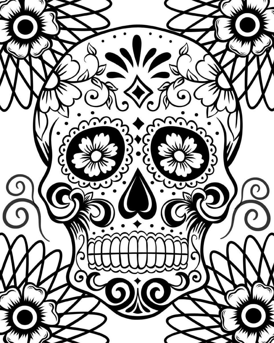 Day Of The Dead Coloring Pages Free Printable Day Of The