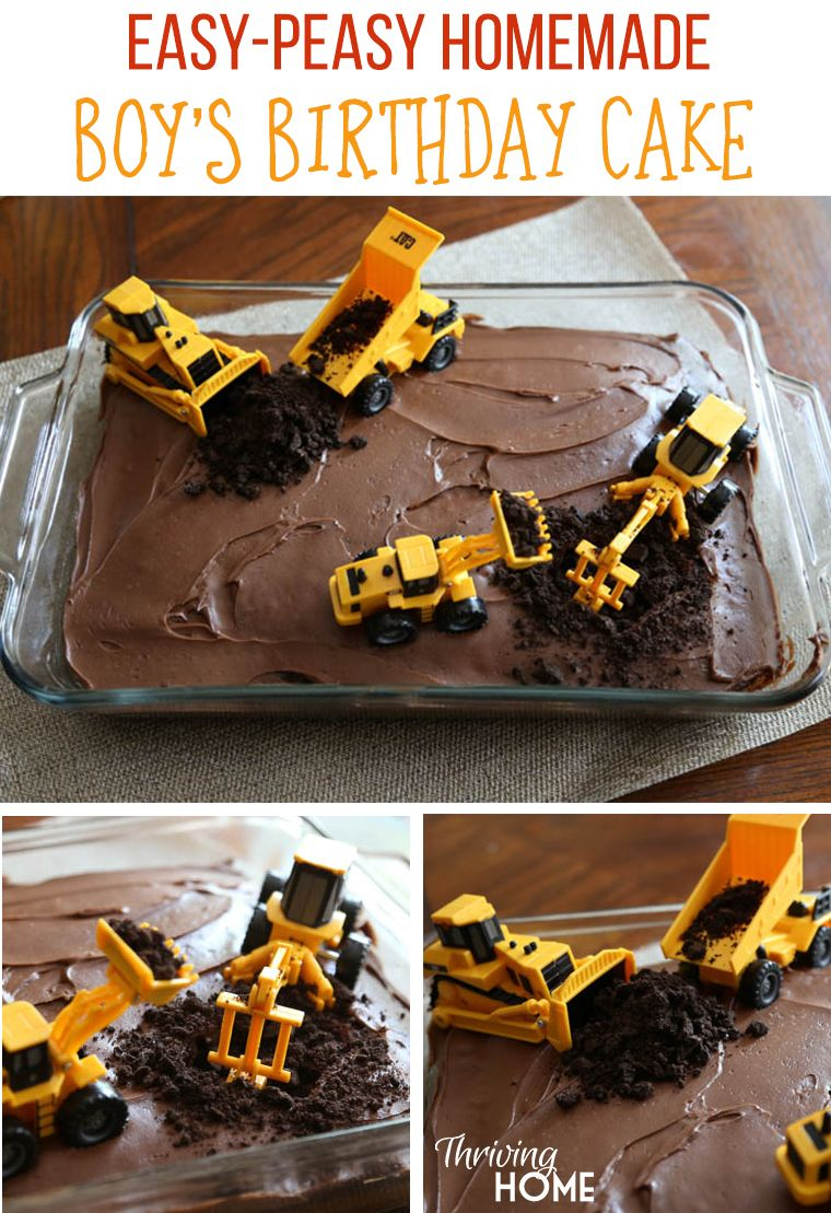 Diy Birthday Cakes Easy Boys Cake With Diggers Perfect Idea For A