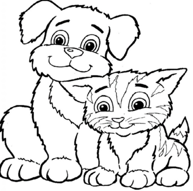 Dog And Cat Coloring Pages Cartoon Pictures Of Dogs And Cats Free Download Best Cartoon