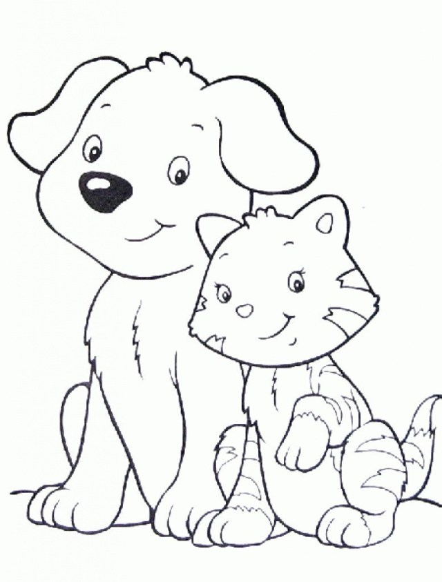 Dog And Cat Coloring Pages Dog And Cat Coloring Page Ftwap