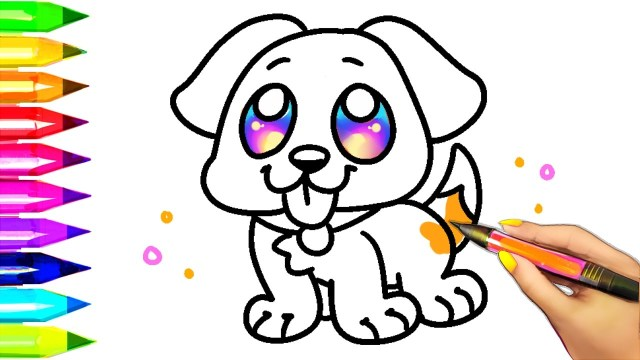 Dog Coloring Page Easy Dog Coloring Pages For Kids Learning Colors With Puppy