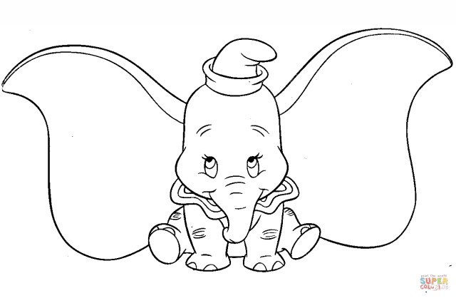 Dumbo Coloring Pages Cute Dumbo Coloring Page Free Printable Coloring Pages