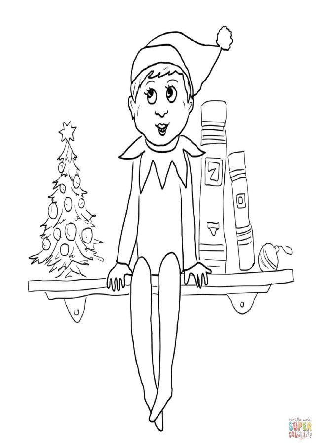 Elf On The Shelf Coloring Pages Christmas Elf On The Shelf Coloring Pages