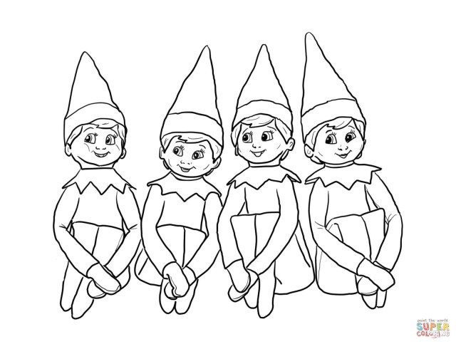 Elf On The Shelf Coloring Pages Elves On The Shelf Coloring Page Free Printable Coloring Pages