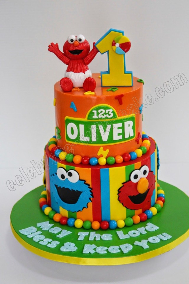 Elmo Birthday Cakes Celebrate With Cake Ba Elmo 2 Tier Cakes Pinterest