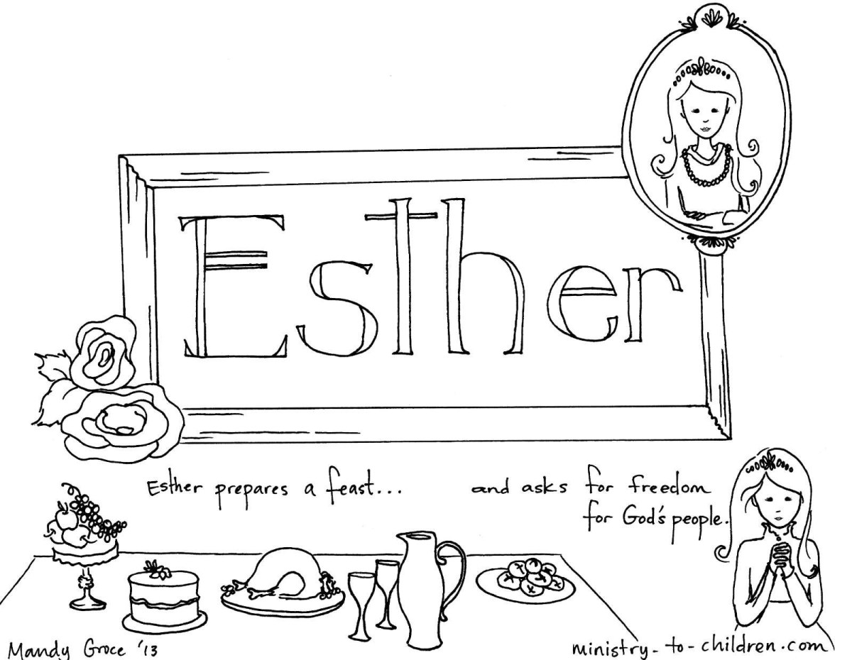 King Choose Esther to be His Queen Esther Coloring Page   Queen ...   930x1200