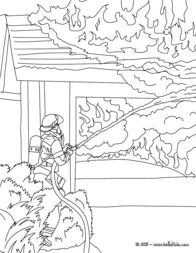 Firefighter Coloring Pages Firefighter Coloring Pages For Kids With Fireman Extinguishes Fire