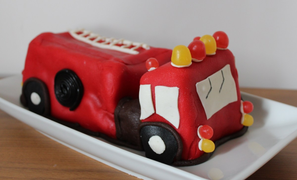 Incredible Fireman Birthday Cake Fireman Birthday Party With Fire Engine Cake Personalised Birthday Cards Arneslily Jamesorg