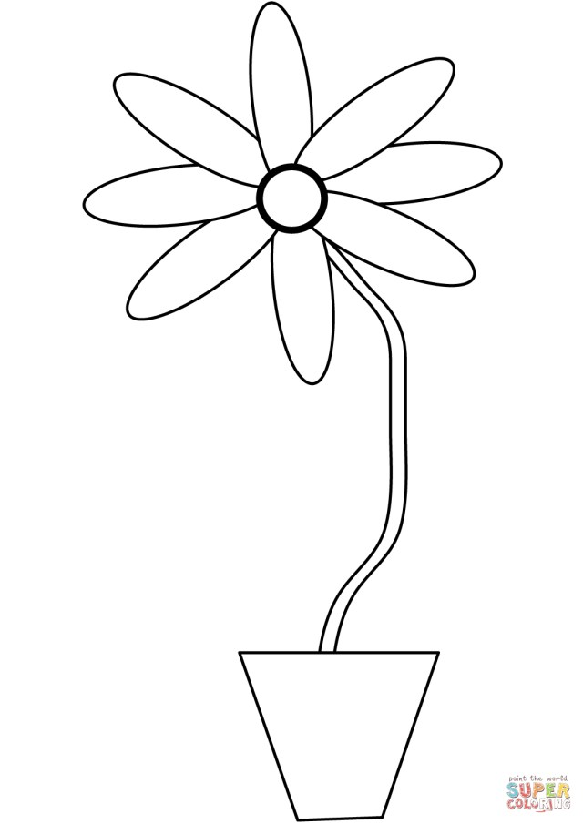 Flower Pot Coloring Page Flower In A Pot Coloring Page Free Printable Coloring Pages