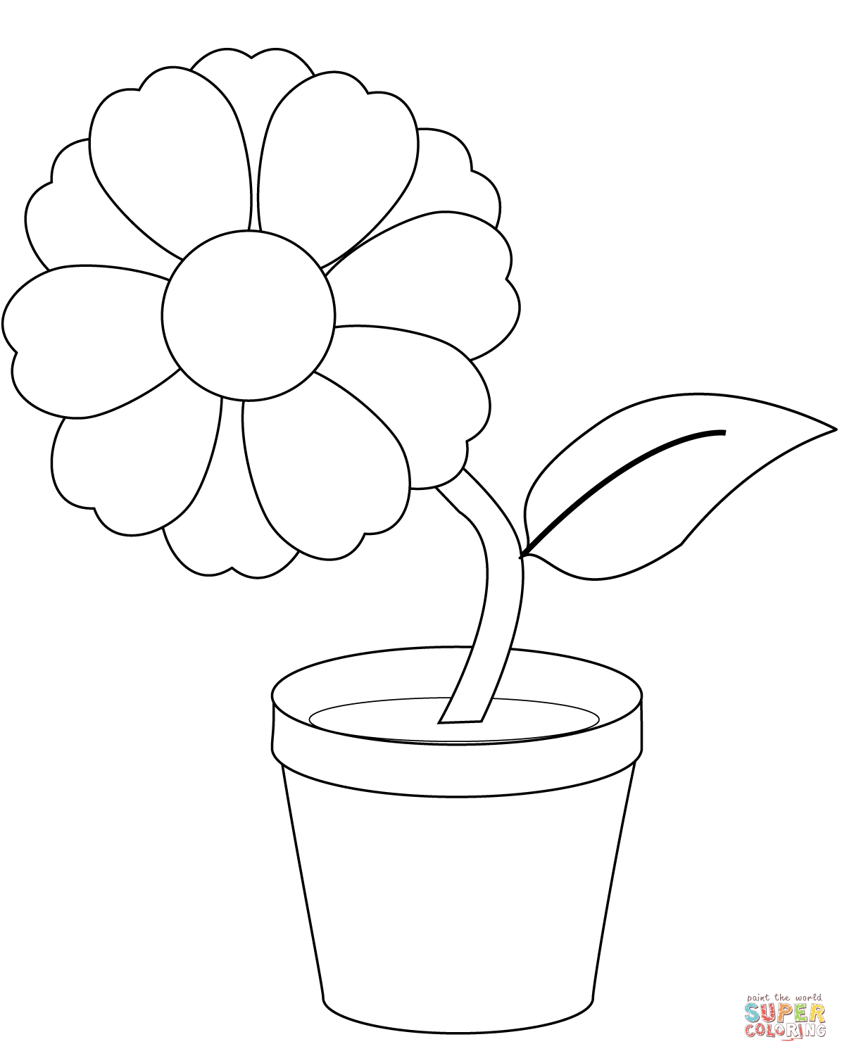 photo relating to Flower Pot Printable referred to as Flower Pot Coloring Website page Flower In just A Pot Coloring Site Cost-free