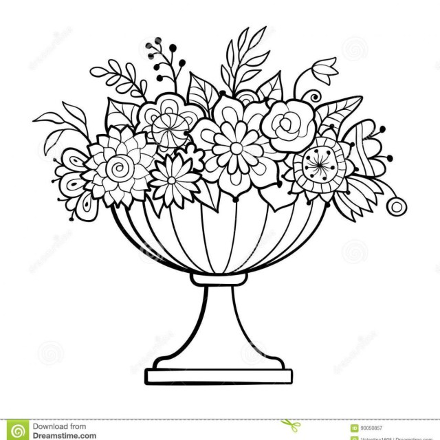 Flower Pot Coloring Page Flower Pot Coloring Page Empty Pages Free Printable Large Vase With