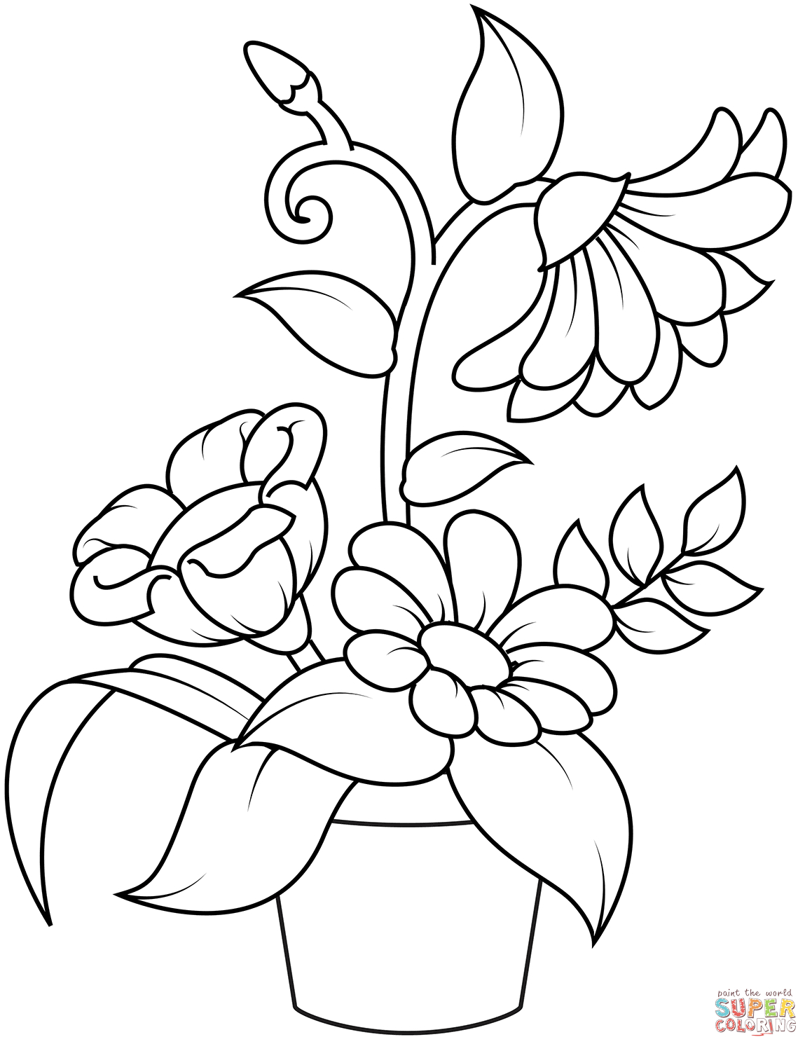 image relating to Flower Pot Printable identified as Flower Pot Coloring Website page Flowerpot Coloring Web site Absolutely free