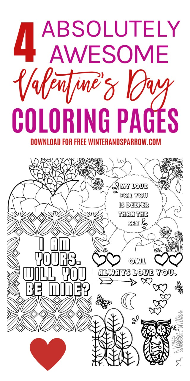 Free Valentines Day Coloring Pages 4 Free Valentines Day Coloring Pages