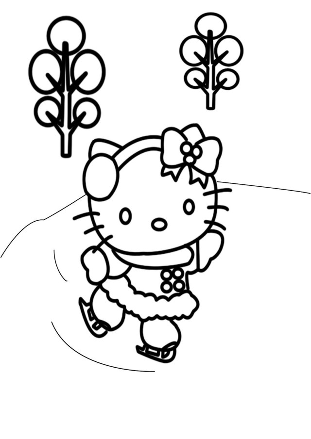 Free Winter Coloring Pages Free Winter Coloring Pages Hello Kitty Skating Winter Coloring