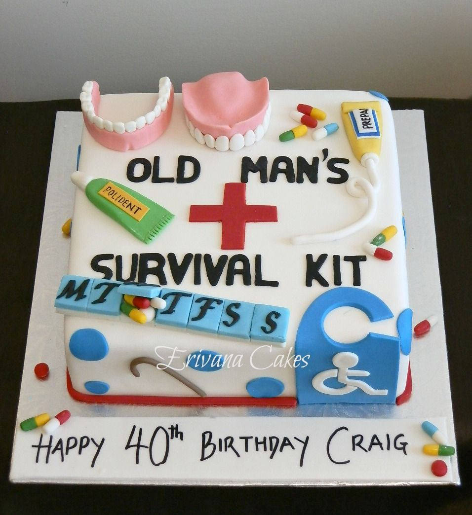 Strange Funny 50Th Birthday Cakes Old Age Survival Kit Cake Dads 60Th Personalised Birthday Cards Bromeletsinfo