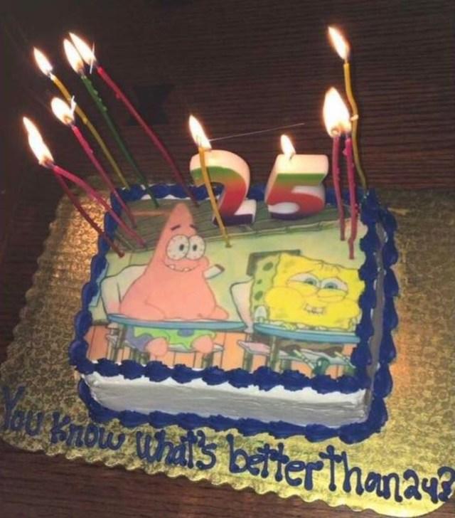 Funny Birthday Cakes For Adults 25th Birthday Cake Spongebob Themed Birthdays Pinterest 25th