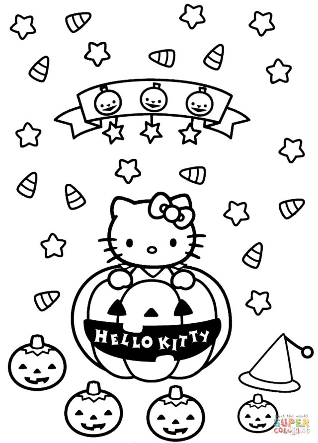 Halloween Coloring Pages Printables Hello Kitty Halloween Coloring Page On Halloween Coloring Pages