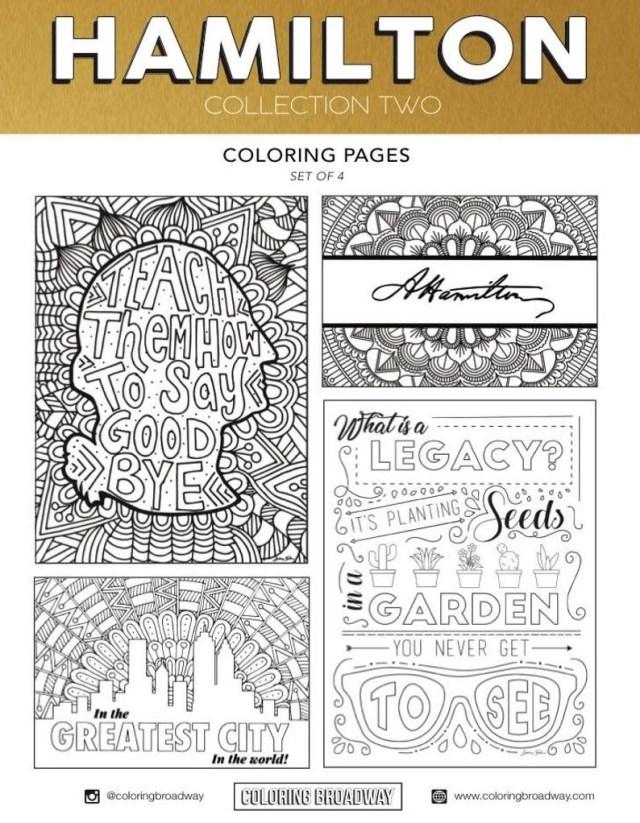 Hamilton Coloring Pages Hamilton Collection Set 2 Digital Download Broadway Etsy