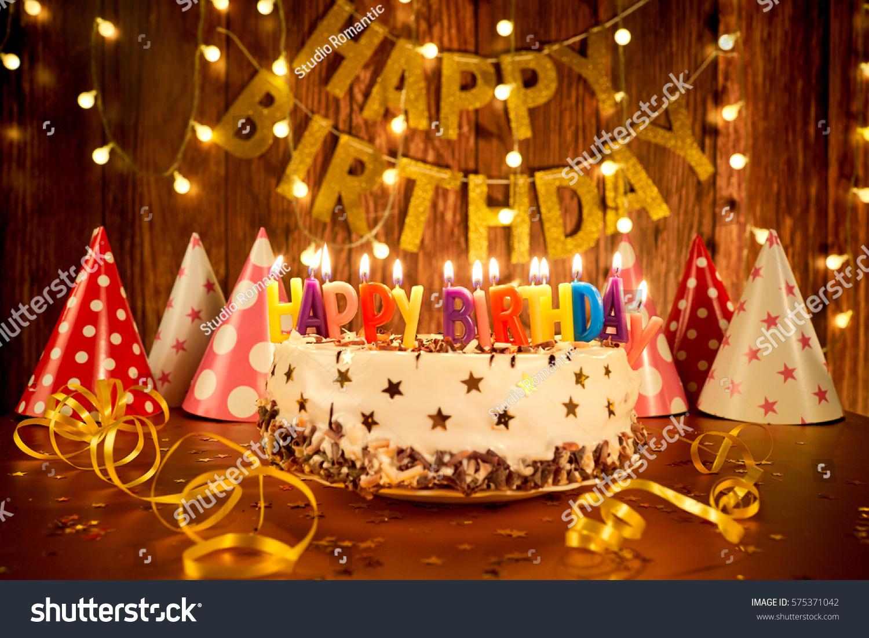 Fantastic Happy Birthday Cake Pics Happy Birthday Cake Candles On Background Personalised Birthday Cards Veneteletsinfo