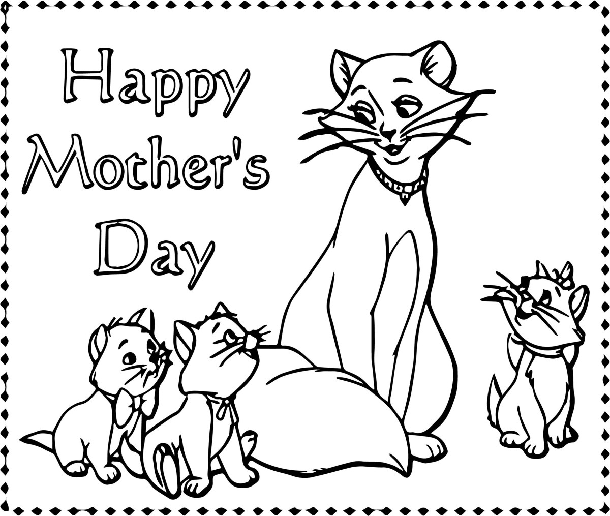 Happy Mothers Day Coloring Pages Disney The Aristocats Happy