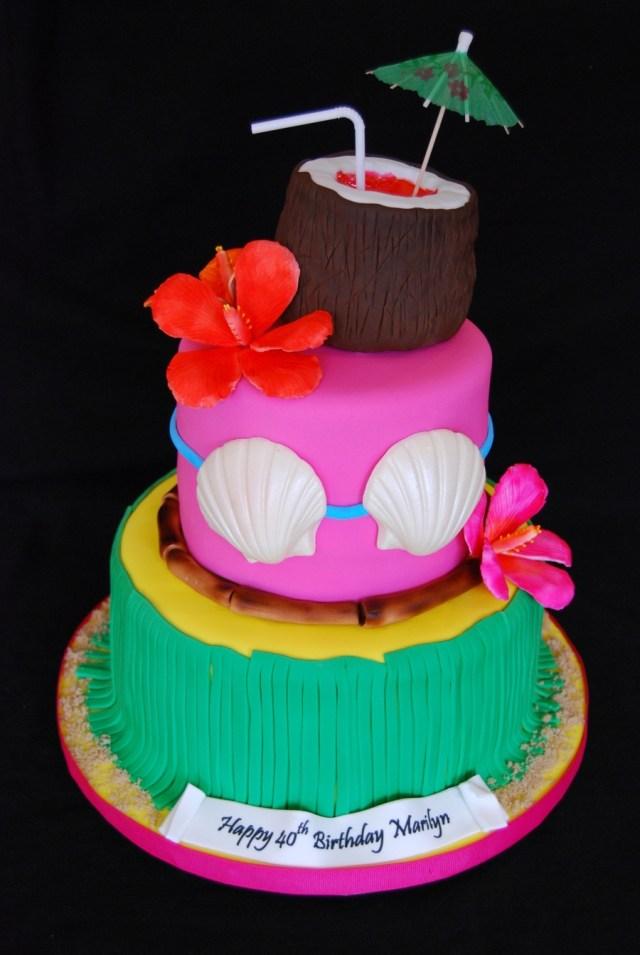 Hawaiian Birthday Cake Hawaiian Themed 40th Birthday Cake Cakecentral