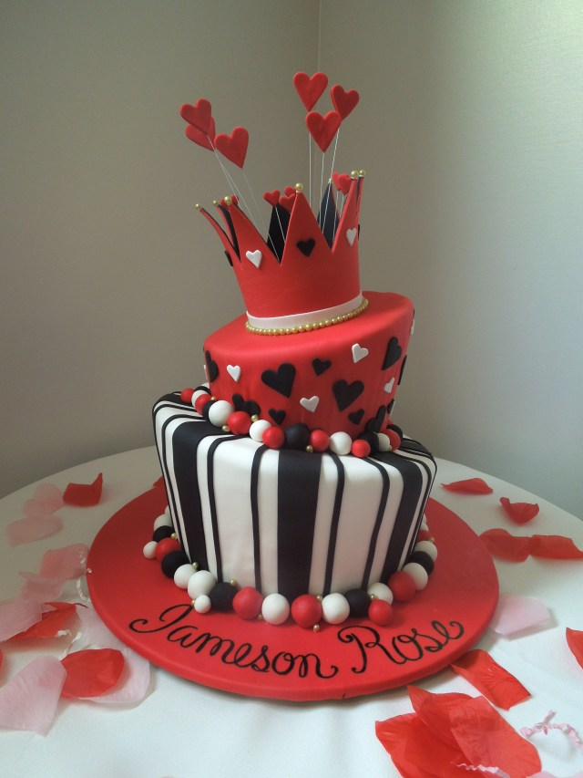 Heart Birthday Cake Queen Of Hearts Cake For 1st Birthday Party Couture Cakes Inc