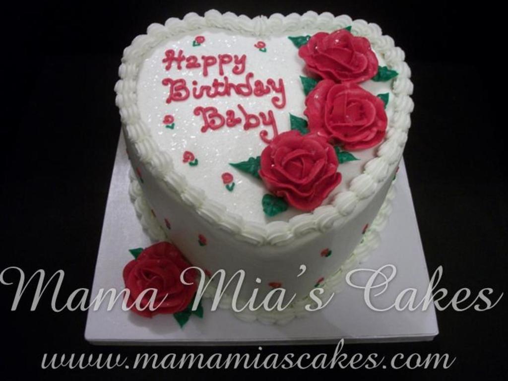 Outstanding Heart Birthday Cake Red Rose Heart Birthday Cake Cakecentral Birthday Cards Printable Trancafe Filternl