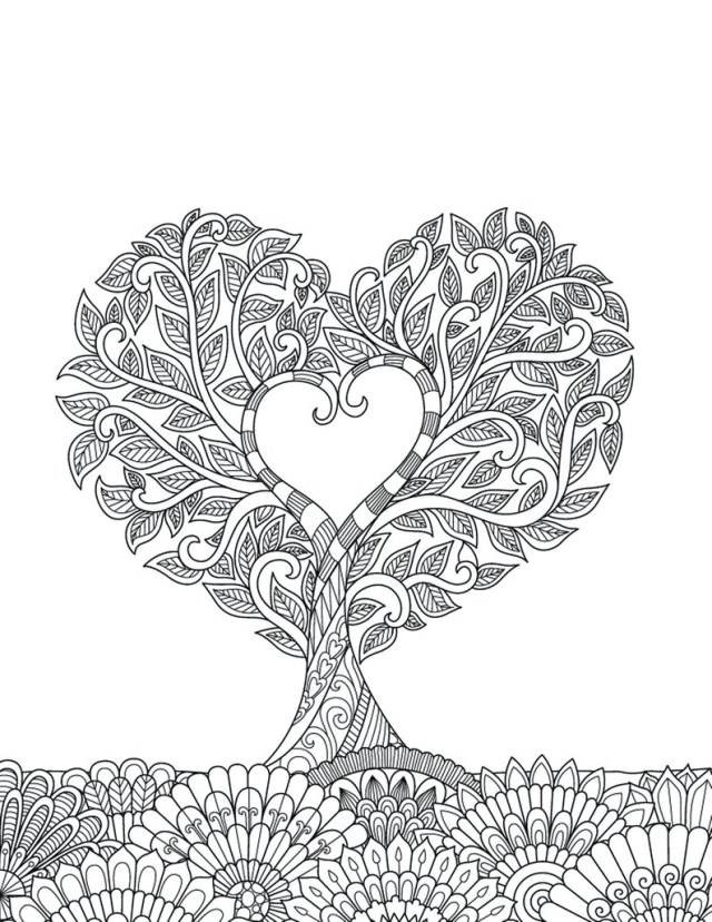 Heart Coloring Pages For Adults Heart Coloring Pages For Adults 1 Printable Coloring Page Etsy