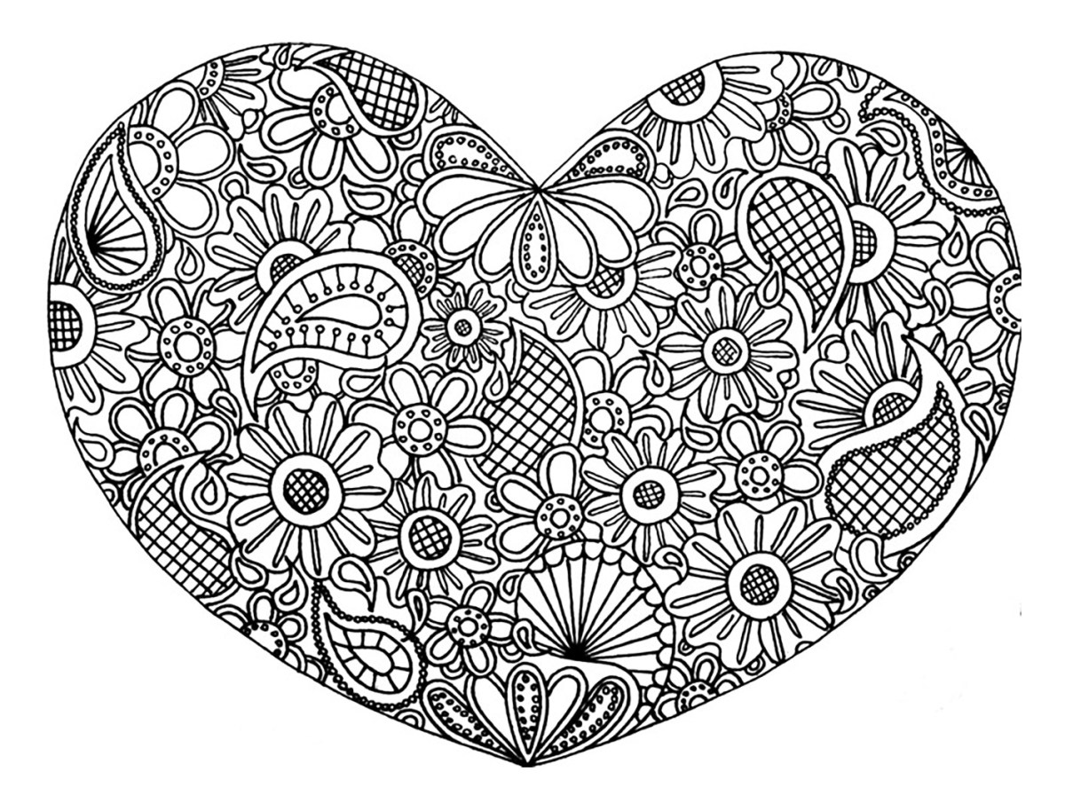 Heart Coloring Pages For Adults Heart Coloring Pages For Adults