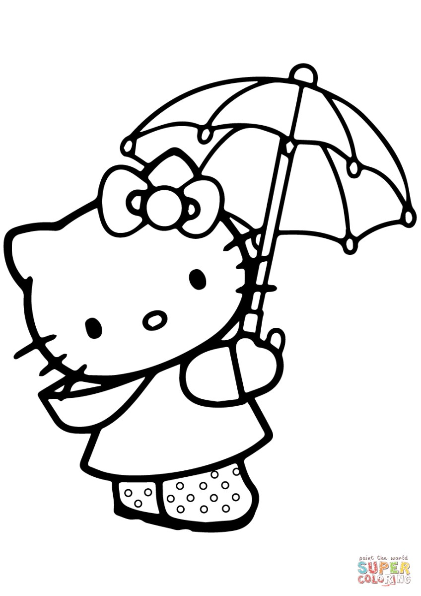 Hello Kitty Coloring Pages Lovely Hello Kitty Under The Umbrella Coloring Page Free Printable