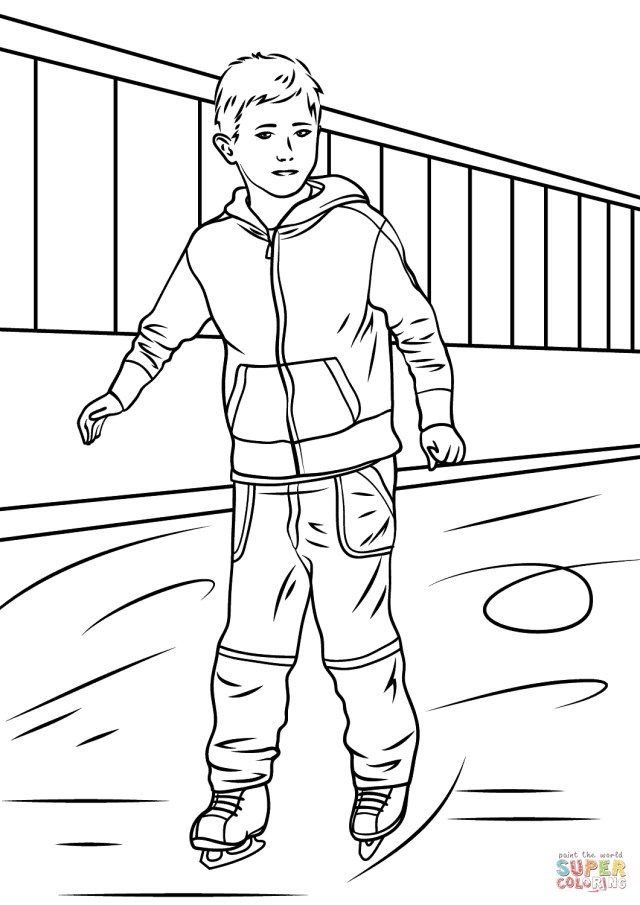 Ice Skating Coloring Pages Boy Ice Skater Coloring Page Free Printable Coloring Pages