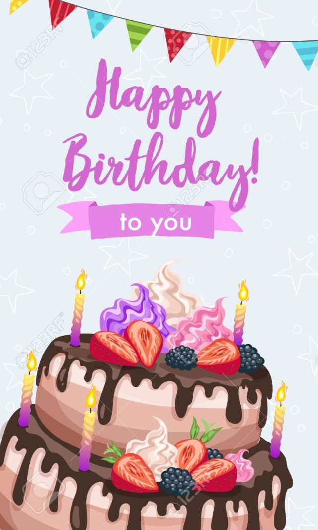 Images Of Happy Birthday Cakes Bright Birthday Cakes Vector Illustration Gift Card Design Template