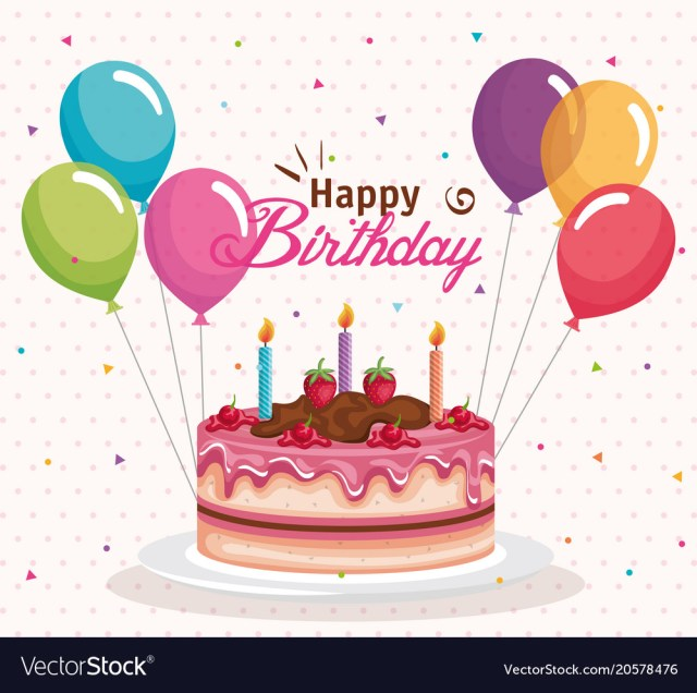 Images Of Happy Birthday Cakes Happy Birthday Cake With Balloons Air Celebration Vector Image