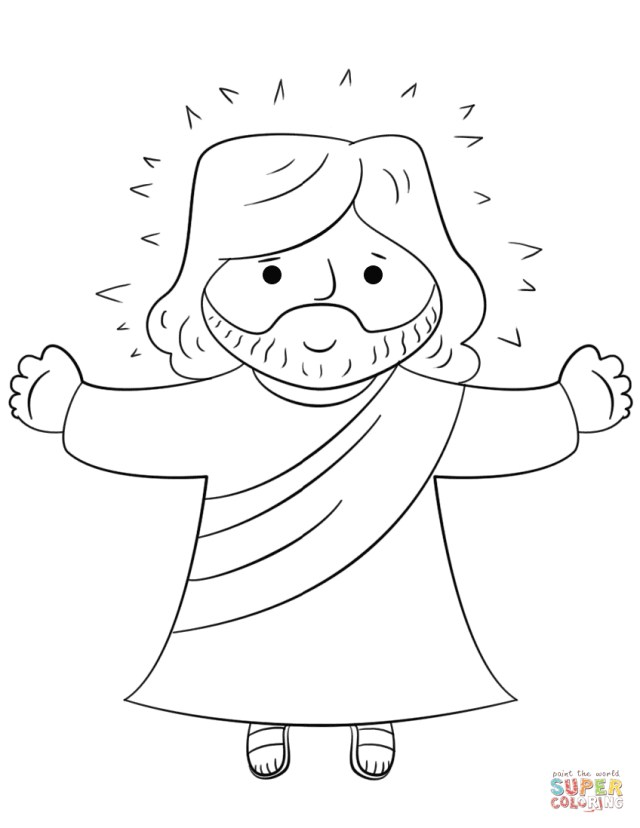 Jesus Coloring Page Cartoon Jesus Coloring Page Free Printable Coloring Pages