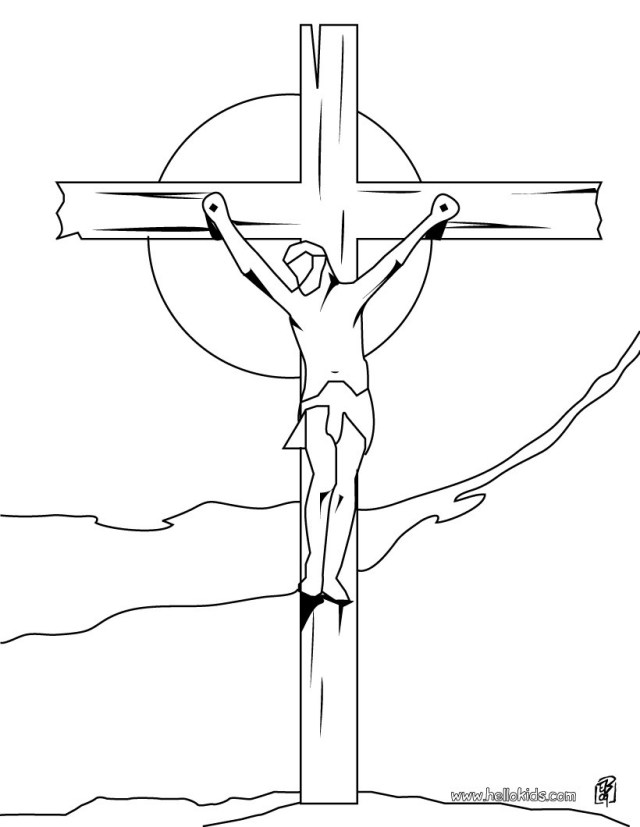 Jesus Coloring Page Crucifixion Of Jesus Coloring Pages Hellokids