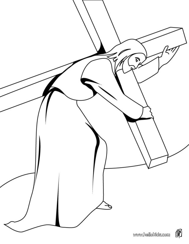 Jesus Coloring Page Jesus Christ Carrying The Cross Coloring Pages Hellokids