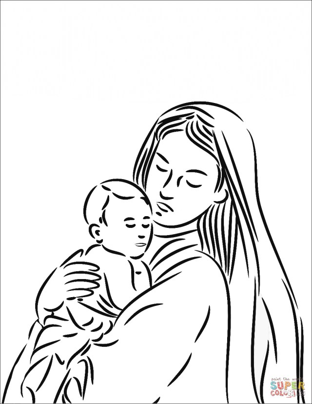 Jesus Coloring Page Mary Mother Of Jesus Coloring Pages Free Printable Pictures