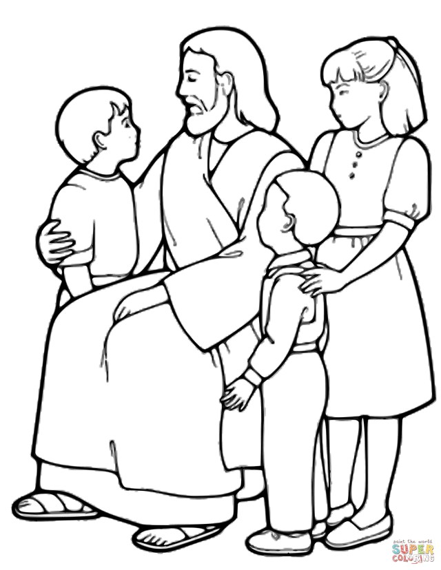Jesus Coloring Page The Little Children And Jesus Coloring Page Free Printable