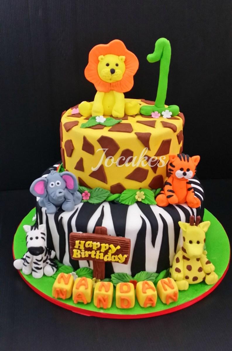 Miraculous Jungle Birthday Cake Jungle Animal Cake Jungle Animal Cake For Funny Birthday Cards Online Inifodamsfinfo