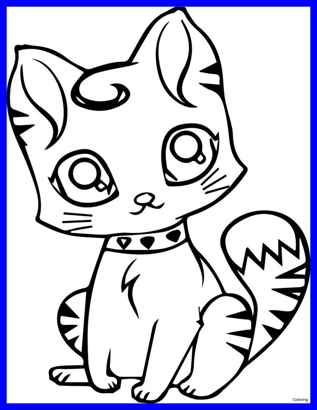 Kitty Cat Coloring Pages Cute Cat Coloring Pages To Print At Getdrawings Free For