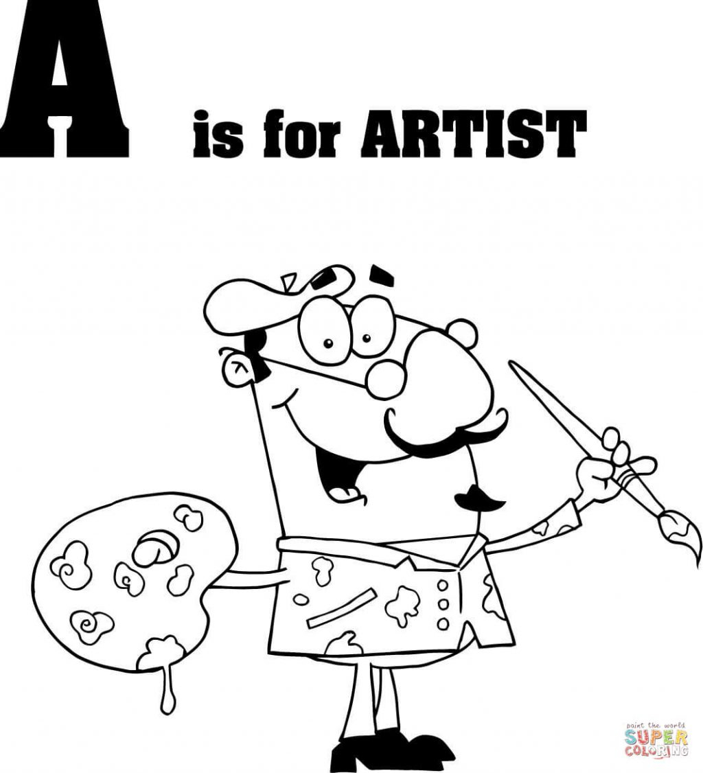 Letter A Coloring Pages Coloring Page Coloring Page Letter Is For Artist Pages A Coloring