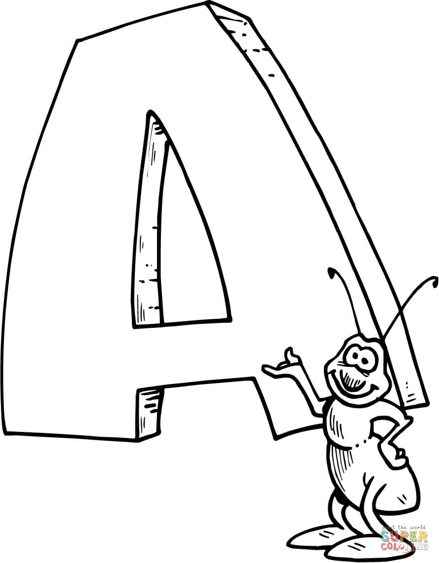 Letter A Coloring Pages Coloring Page Letter Is For Ant Coloring