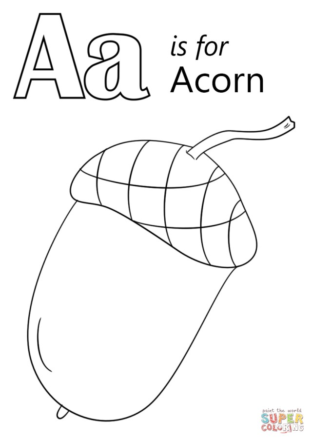 Letter A Coloring Pages Letter A Is For Acorn Coloring Page Free Printable Coloring Pages