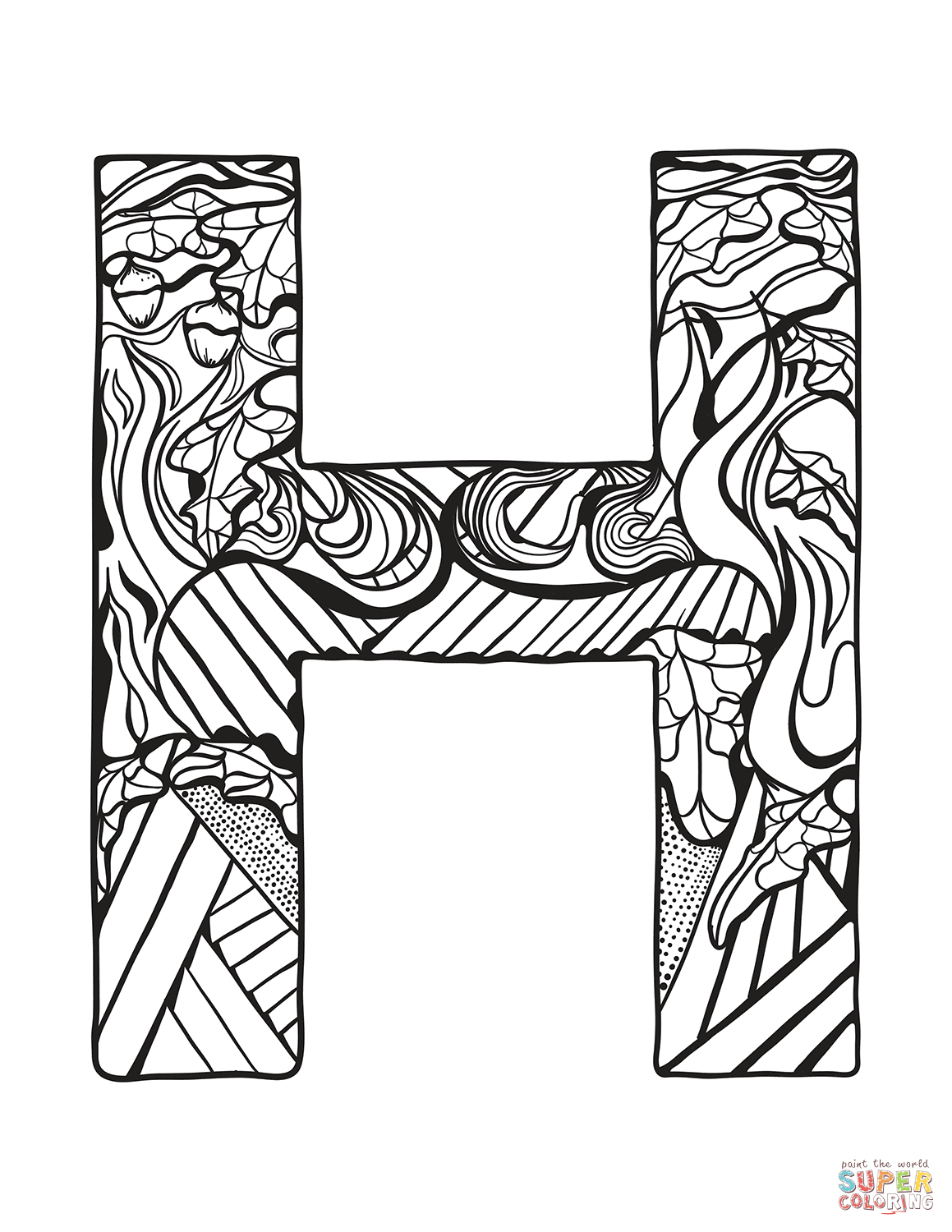 image relating to Letter H Printable known as Letter H Coloring Webpages Letter H Zentangle Coloring Web page