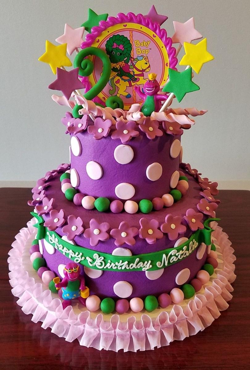 Brilliant Little Girl Birthday Cakes Barney Ba Bop Tiered Birthday Cake Funny Birthday Cards Online Bapapcheapnameinfo