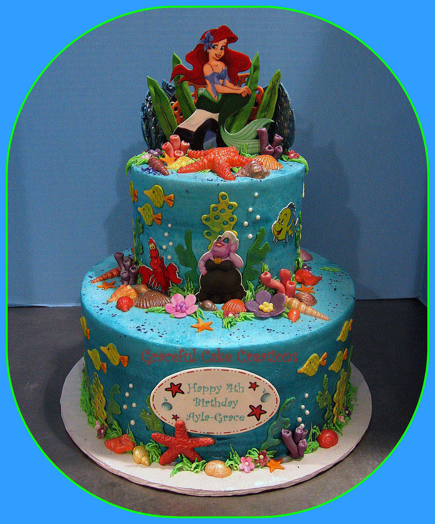 Fabulous Little Mermaid Birthday Cakes Ariel Little Mermaid Birthday Cake Personalised Birthday Cards Bromeletsinfo