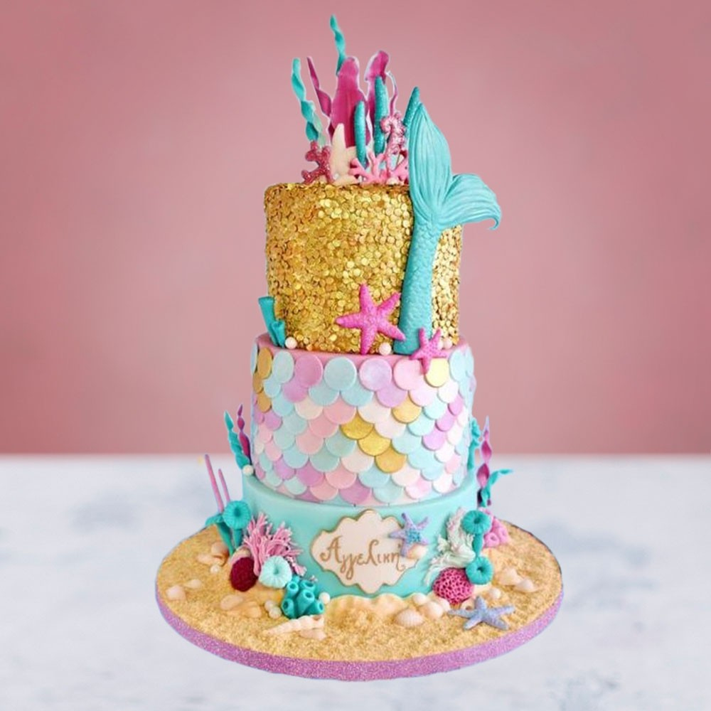 Super Little Mermaid Birthday Cakes Little Mermaid Birthday Cake Personalised Birthday Cards Veneteletsinfo