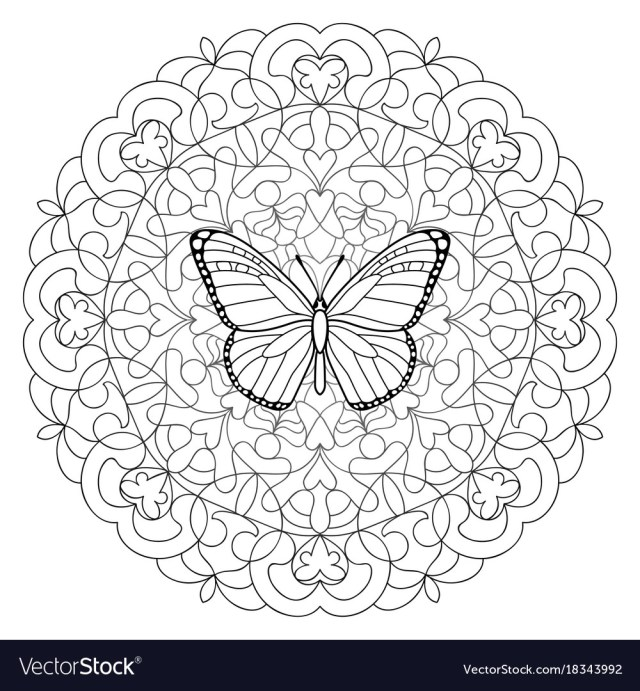 Mandala Coloring Pages Butterfly Mandala Coloring Page Royalty Free Vector Image
