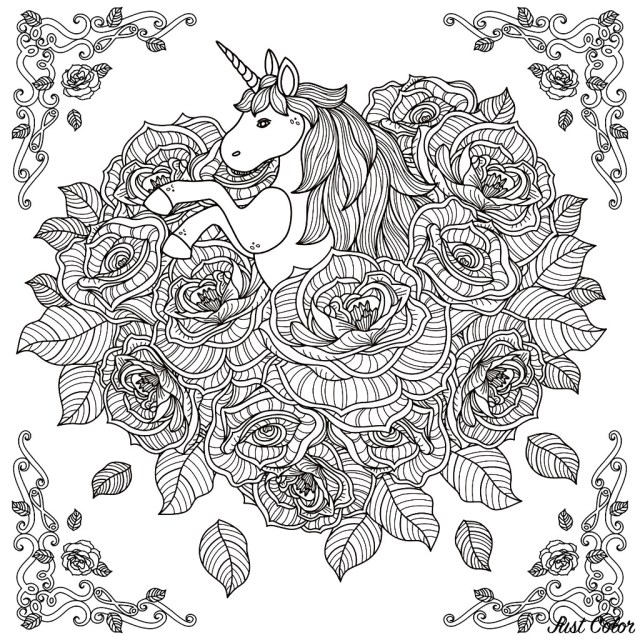 Mandala Coloring Pages Unicorn Mandala Unicorns Adult Coloring Pages
