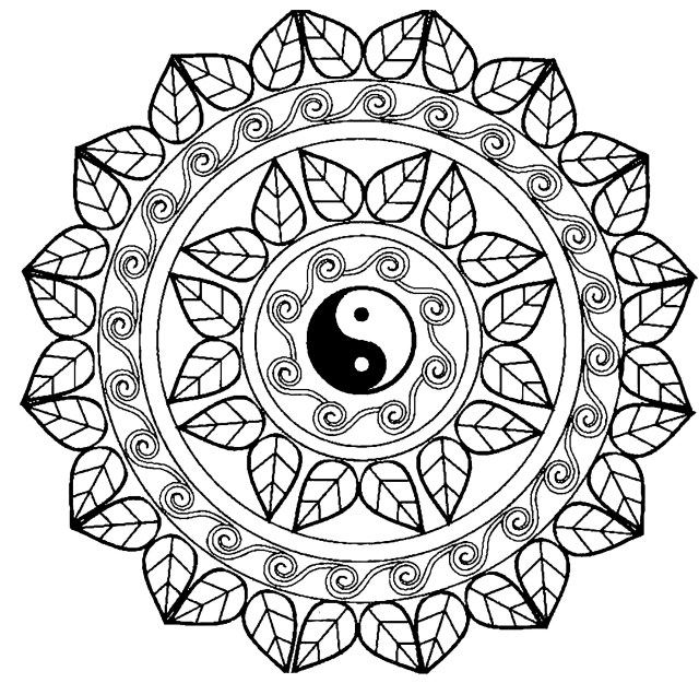 Mandala Coloring Pages Yin Yang Mandala With Cool Leaves Designs Difficult Mandalas